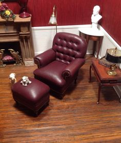 Dollhouse Miniature Artisan Gail Steffey IGMA Leather Club Chair & Ottoman