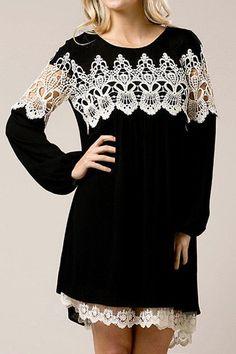 Black Boho Flowy Long Sleeve Mini Dress with Crochet Detail & Lace Trim#1lt2f #1lt2fskateshop #fashion #skateboarding #skateboard #longboarding #mensfashion #womensfashion #fashion #apparel #skatedecks #toys #games #dccomics #marvel #music