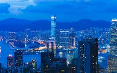 Download wallpapers Hong Kong, China, skyscrapers, bay, metropolis, night, city lights