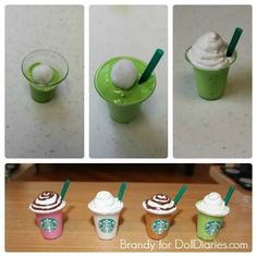 Awesome American girl doll diy to make these adorable Starbucks for the dolls. Looks like a fun craft. Awesome American girl doll diy to make these adorable Starbucks for the dolls. Looks like a fun craft. American Girl Food, American Girl Parties, American Girl Crafts, American Dolls, Crafts For Girls, Diy For Girls, Ag Doll Crafts, American Girl Accessories, Doll Accessories