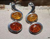 """Vintage 1980s RJ 925 Sterling Silver Pair of Genuine Honey Amber Pierced Post Earrings """""""
