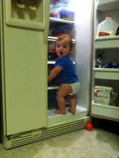When you're caught lurking in the fridge / 19 Babies Who Understand Your Relationship To Food (via BuzzFeed)