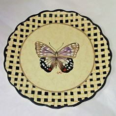 CLAIRE MURRAY Decorative Plate BUTTERFLY Insect Nature Pie Holder Scalloped Dish #ClaireMurray #ArtDeco Scallop Dishes, Cooking Supplies, Pie Plate, Before Christmas, Free Items, Claire, Insects, Decorative Plates, Art Deco