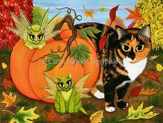 """""""Calico's Mystical Pumpkin"""" 16"""" x 12"""" acrylic on canvas. Prints & Gift Items featuring this image are available on my website. © Carrie Hawks, Tigerpixie Art Studio, Tigerpixie.com"""