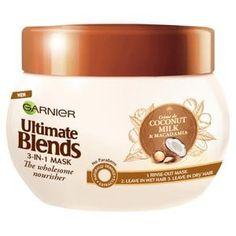 Garnier Ultimate Blends Coconut Milk Dry Hair Treatment Mask 300 ml UK Dry Hair Remedies, Dry Hair Mask, Coconut Milk For Hair, Dry Hair Treatment, Anti Hair Loss, Hair Loss Women, Wet Hair, Creme, Hair Care