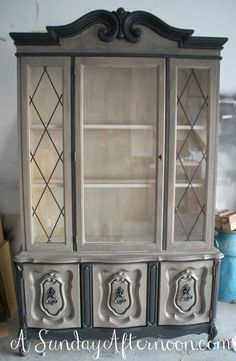 A lovely hutch finished in Coco Chalk Paint® decorative paint by Annie Sloan by Sunday of A Sunday Afternoon blog.