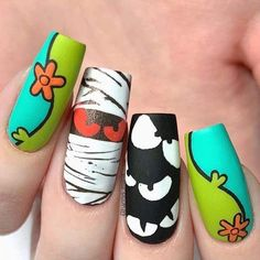 Holloween Nails, Cute Halloween Nails, Halloween Nail Designs, Halloween Acrylic Nails, Dope Nail Designs, Acrylic Nail Designs, Cartoon Nail Designs, Nail Stamping Designs, Dope Nails
