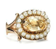 Georgian Antique Topaz Pearl Cluster Ring - The Three Graces