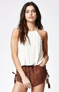 9f72c0f101eb Hooked on Crochet Inset Goddess Neck Tank Top that I found on the PacSun App