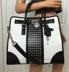 Want Michael Kors Hamilton Center Stripe Studded Large Leather Tote Purse Black White #MichaelKors #ShoulderBag