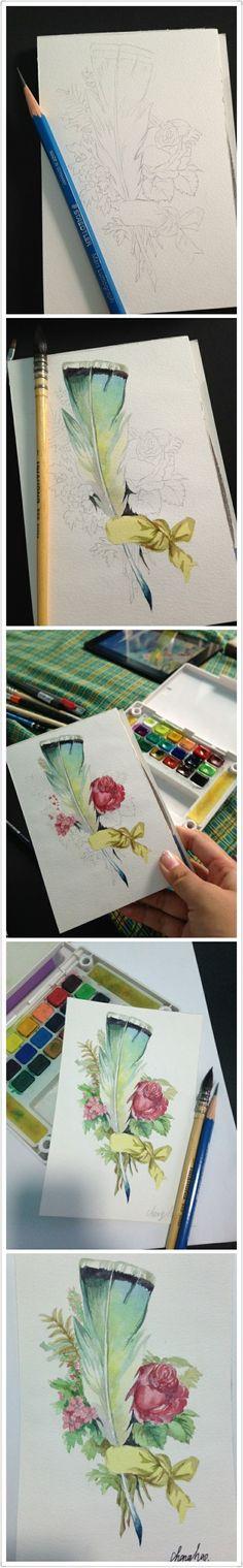 花 步骤 教程 #水彩#@没有不高兴的没头脑采集到我们一起来画画吧~(368图)_花瓣插画/漫画