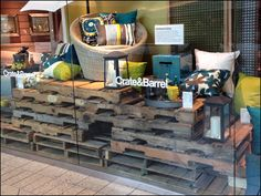 Pallet Merchandising Decorates Crate and Barrel Store Window