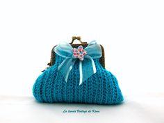 Monedero ganchillo con boquilla - azul de La Tienda Vintage de Kima por DaWanda.com