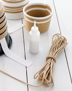 These striped rope baskets are full of charm.