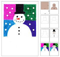 Abstract Snowman Card · Art Projects for Kids Classroom Art Projects, School Art Projects, Art Classroom, Christmas Art Projects, Winter Art Projects, Kids Christmas, Christmas Cards, January Art, January Crafts