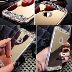 Fashion Lady Necessayr Bling Rhinestone Mirror Case For Iphone 6 6S 4.7inch Clear TPU Frame + Gold Silver Soft Back Cover Shell Digital Guru Shop  Check it out here---> http://digitalgurushop.com/products/fashion-lady-necessayr-bling-rhinestone-mirror-case-for-iphone-6-6s-4-7inch-clear-tpu-frame-gold-silver-soft-back-cover-shell/