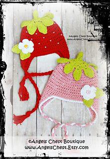 Strawberry earflap hat. Cute.