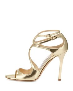 S0D6S Jimmy Choo Lang Metallic Leather Sandal, Gold
