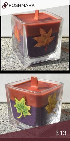 Fall Is Here! Caramel Latte Scented Candle Hand decorated and hand poured into an 8oz square jar & has a wooden wick! Other