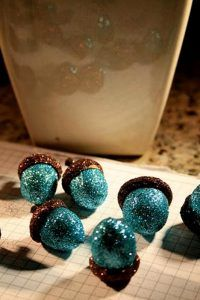 Glitter acorns- in any color- maybe gold or ivory.