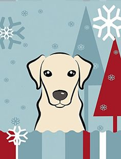 Caroline's Treasures BB1718CHF Winter Holiday Yellow Labrador Canvas House Size Flag, Multicolor, Large >> New and awesome product awaits you, Read it now  : Garden Christmas Decorations