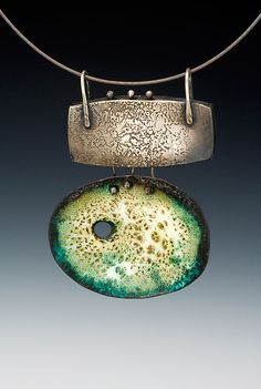 """Patti Wells Designs;""""My jewelry line is called """"Relics"""". It includes necklaces and earrings"""" Shown here: EN6: sterling silver box, 2″ wide x 7/8″ tall, enameled pendant, 2 1/4″ wide x 1 3/4″ tall, $285"""