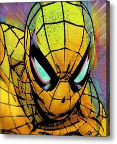 Very cool Spiderman pop art for boy's room, man cave, office decor... Spider-Man Pop Gold on Stretched Canvas by Rubino Fine Art, via Etsy
