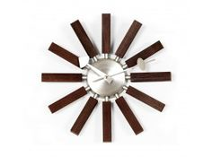 George Nelson Walnut Wood Spokes Clock by Control Brand on