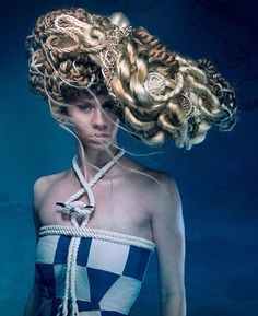 """Rigging""- Photographer: Trav McAvaddy, Hair: Molly Juhlin , MUA: Madelyn Cunningham, Model: Kristin Bruner, Custom Wardrobe: Audra McAvaddy, Mentors: Esther Vander Waal, Jen Truitt, and Jana Van Polen #avantgarde #naha2016 #hair #fashion #style"