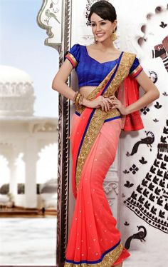 Picture of Indian Ethnic Peach Color Wedding Saree