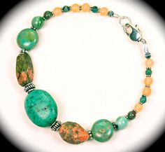 Natural turquoise, sterling & peach beaded bracelet.