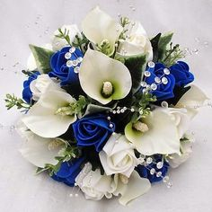 Blue Lily Bouquet Wedding Flowers|http://refreshrose.blogspot.com/