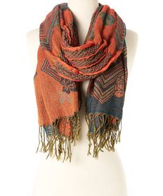 Look what I found on #zulily! Teal & Rust Floral Fringe Scarf #zulilyfinds