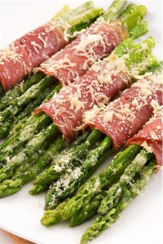 A great antipasto. Asparagus wrapped in prosciutto.