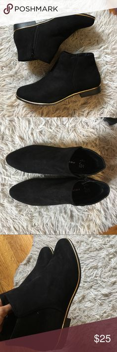 Low Top Black Boots w/ Gold Rim perfect condition brand new, size 8, so cute, PURCHASED IN LONDON (at a primark) Primark Shoes Ankle Boots & Booties