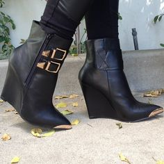 Black Faux Leather Buckled Wedge Booties at ILoveCuteShoes.com