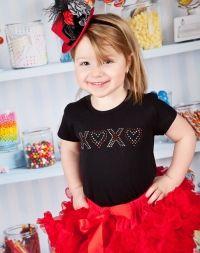Girls Valentine Outfit, Rhinestone Hearts Tee
