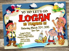 Jake and the Neverland Pirates Invitation  by JustRightDesigns954