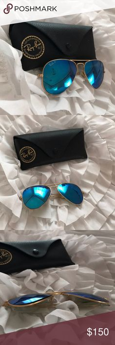 Ray-Ban Polarized 3025 58MM sunglasses.Blue mirror Ray ban sunglasses POLARIZED in blue mirror style RB3025 58MM is size. THESE COME WITH A TAN CASE!!! Has two minor scratches just like orange pair. Does have lenses popping up a bit as shown in photo. Price reflects polarized (more money) and lends. Ray-Ban Accessories Sunglasses