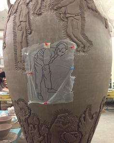 Carving away! #lukaseaston #lukaseastonbfa #ceramics #youmakemeleatherhard #leatherhard #clay #pottery #wheelthrowing #carving #carvedclay #imagetransfer