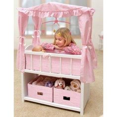 Realistic Canopy Doll Crib. Storage could be used for all baby doll stuff