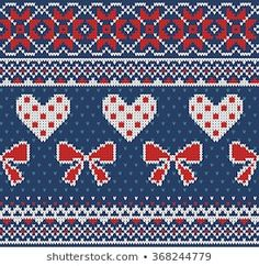 Seamless pattern on the theme of Valentine's Day with an image of the Norwegian and fairisle patterns. Red and white bows and hearts on a blue background. Fair Isle Knitting Patterns, Fair Isle Pattern, Knitting Charts, Crochet Patterns, Knitting Stitches, Cross Stitch Embroidery, Cross Stitch Patterns, White Bows, Red And White