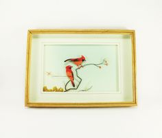Vintage Shadow Box Art of Red Cardinals, Antique Shadow Box Bird Art, Real Feather Collage Art Box Wall Art, Framed Shadow Box Art - pinned by pin4etsy.com