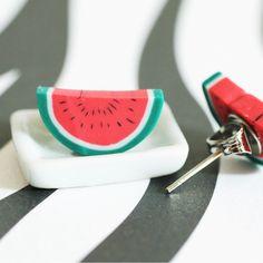 Juicy Watermelon Polymer Clay Stud Earrings
