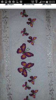 Cross Stitch Embroidery, Embroidery Patterns, Butterfly Cross Stitch, Bargello, Bookmarks, Embroidered Towels, Bath Linens, Embroidery Ideas, Face Towel