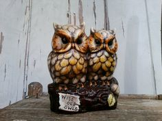 Check out this item in my Etsy shop https://www.etsy.com/listing/110627467/kitsch-angry-owl-statue-mod-ceramic-home