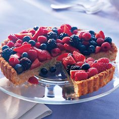 Almond-Coconut Tart	    Red, white, and blue goes flourless and dairy-free in this festive berry-topped tart. Soy milk and soy-based cream cheese give the almond filling its impeccable creamy texture.