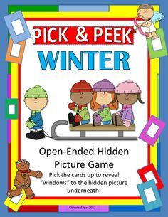 $ Winter speech therapy fun- Pick up a card to reveal a window to the mystery picture. Can you guess what it is?  PICK & PEEK Game may be used in any small group instruction to have fun learning. Use it with any my speech therapy cards, yours, or customize the included cover cards.  Includes mystery pictures for Winter, Christmas, New Years Eve, Valentine's Day, and Groundhog Day. Even more fun- use a photo, a favorite cartoon character or magazine page! #speechpathology #specialeducation