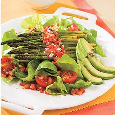 Roasted Asparagus Salad    Serve a plate full of cancer-fighting goodness with the veggies in Roasted Asparagus Salad: Bibb lettuce, cherry tomatoes, avocado, red onion, and bell pepper.