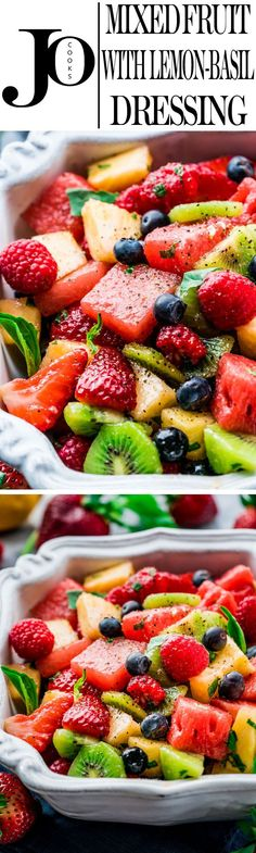 This Mixed Fruit with Lemon-Basil Dressing is super refreshing and delicious with an incredible savory dressing. Perfect for summer and ready in only 15 minutes! Fruit Recipes, Summer Recipes, Salad Recipes, Vegan Recipes, Cooking Recipes, Vegetable Recipes, Fruit Salad Ideas Parties, Fruit Party, Fruit Dishes